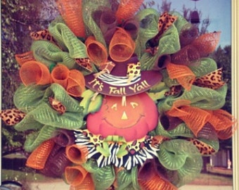 Fall Wreath/ Scarecrow Wreath/ Happy Fall Wreath/ Fall Deco Mesh Wreath/ Harvest Wreath/ Thanksgiving Wreath