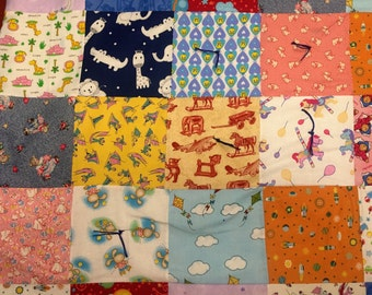 """32.5""""x32.5"""" Full Baby quilt with 100% USA Cotton Batting (filling) and traditional quilt knots"""