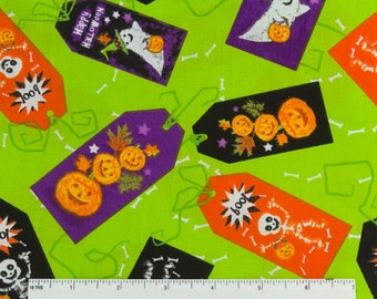 Halloween Fabric -- Green with Ghosts, Pumpkins and Skeletons --- 100 Percent Cotton --- Fabric by the Yard