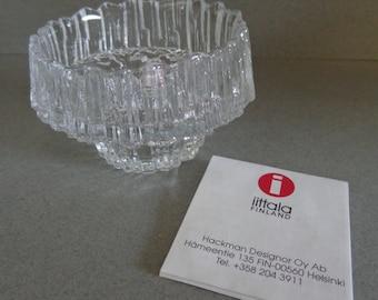 IIttala Stellaria Crystal Votive and Taper Candlestick Candle Holder ice cut texture Finland Tapio Wirkkala