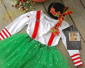Little Girls Christmas Dress, Little Girls Red-Green Tutu, Gingerbread Outfit/Holiday outfit, Christmas Dress/Ready to Ship/MYSWEETCHICKAPEA