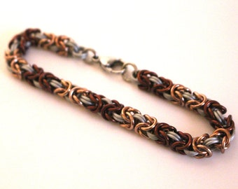 White, Brown, and Champagne Anodized Aluminum Byzantine Chainmaille Bracelet
