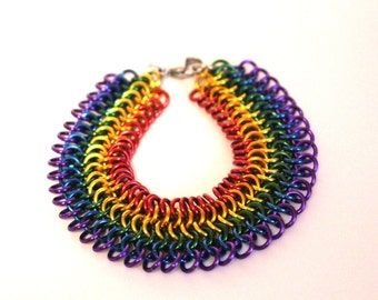 European 4 in 1 Chainmaille Bracelet | Hand Crafted Chainmaille Jewelry | Handmade Bracelet | Rainbow Bracelet | Anodized Aluminum