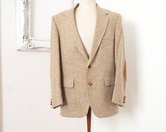 Vintage Tan Tweed Wool Sport Coat with Suede Elbow Patches Men Sz 42R