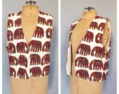 SHOP SALE Vintage Retro India Cotton Elephant Embroidered Vest Print Top Shirt Boho Ethnic Vest Hipster Size Small Indian Hippie Vest