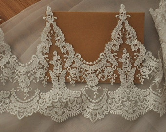 Alencon lace trim in ivory for wedding veil bridal gown, belero, shurgs , bodices