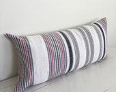 Vintage White Handwoven Hmong Stripe Hemp Lumbar Pillow Cover // 11 x 23