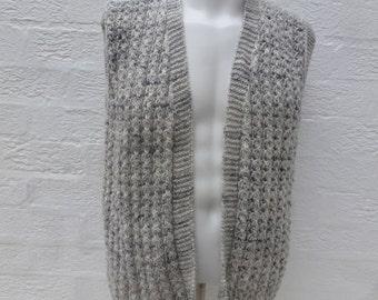 Neutral cardigan sleeveless clothing 1990s handmade grey top waistcoat vest urban gilet wool knitwear top vintage boho mens small grey tunic