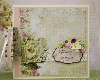Shabby Wedding Album, Bridal Shower Gift,  Mini Scrapbook album, Bachelorette Party Gift, For her, Hen Party Album, Custom Wedding Album