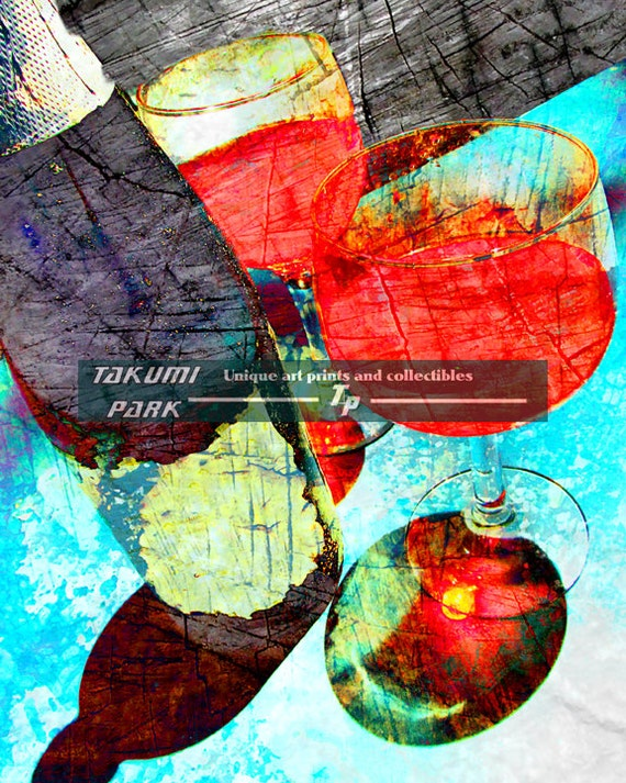 Vino art wine artwork dining room wall art print by takumipark for Wine and dine wall art