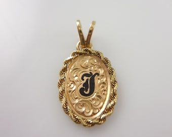 14 K  Gold Pendant 14 k Yellow Gold Personalized Letter J