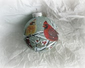Hand Painted Glass Christmas Ornament with Cardinals by Wildlife Artist Terrie Owens