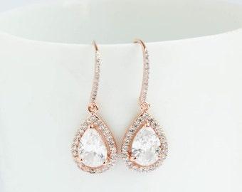 Bridal Earrings, Rose Gold Earrings, Rose Gold Drop Earrings, Rose Gold Dangle Earrings, Rose Gold earrings, Bridal