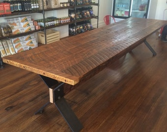 Lovely Harvest Table From Reclaimed Fir With Trestle Base