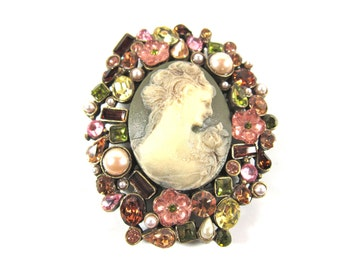 Vintage Large Sweet Romance Cameo Lady, Swarovski Crystal and Pearl Oval Clip On Brooch-Hand Made In USA