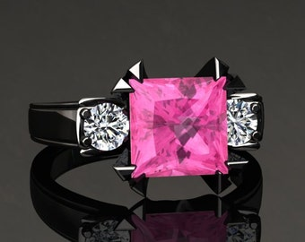 Pink Sapphire Engagement Ring Princess Cut Pink Sapphire Ring 14k or 18k Black Gold Matching Wedding Band Available SW16PKBK