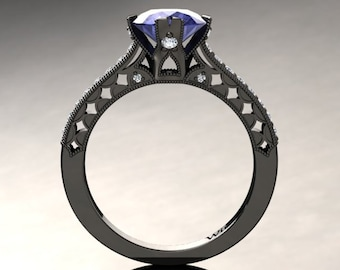 Tanzanite Engagement Ring Tanzanite Ring 14k or 18k Black Gold Matching Wedding Band Available W1TANZBK