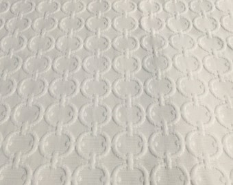 Home Decor Fabric. White with textured circles 22x78