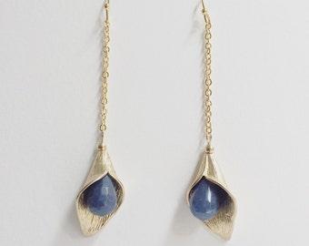 Minimalistic elegant Gold plated Earrings with blue Jade gemstone