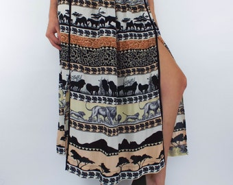 Vintage 90s Safari Print High Slit Maxi Skirt
