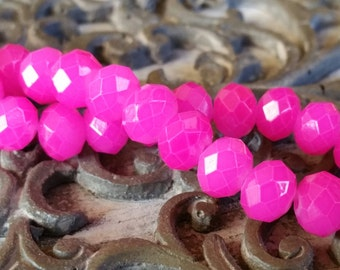 Crystal Faceted Rondell Beads, jewelry supplies, Hot Pink, qty.30 beads