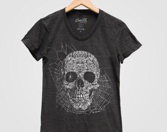 HALLOWEEN Skull Shirt Women Custom Hand Screen Print Tri-Blend Short Sleeve Tshirt Available: S, M, L, XL