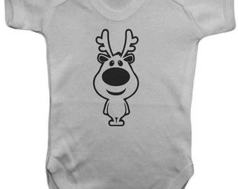 RudolfChristmas Vest- Baby Bodysuit - Vest,Baby Grow,,Baby One Piece,Baby Clothes,Bodysuit, baby onesie,100% Cotton  - Silkscreen