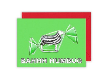 "Multipack BAHHH Humbug Christmas Card Reads ""Seasons Bleatings"" inside Packs of 5 and 10. Sheep humbug sweet candy"