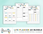 Life Planner Bundle - Daily, Weekly & Monthly planner - A5 PDF file