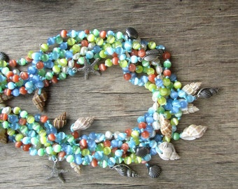 TROPICAL SEAS Beach wedding necklace Pastel necklace Colorful necklace Beach necklace Multistrand necklace Statement necklace Summer jewelry