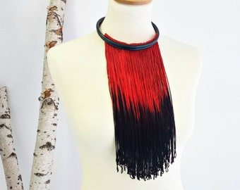 Statement necklace - Long statement necklace - Contemporary jewelry - Fringe necklace - Modern jewelry - Extravagant necklace