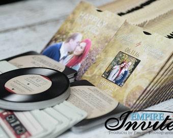 record wedding invitations, vinyl record invitations, optional mixtape RSVP | Handmade in Canada by ---- www.empireinvites.ca ---