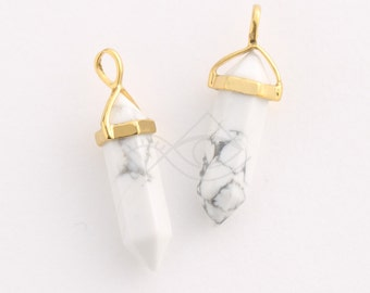 1080051 / White Alabaster (Large) / 16k Gold Plated Brass Framed Synthetic Stone Pendant  9.7mm x 37.5mm / 3.8g / 2pcs