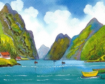 Original Watercolour, Painting, Fjord, Norway, Size 14ins x 11ins, Gift Idea, Art and Collectables