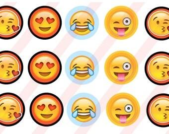 Emoji combo pack   Bottle cap sticker  Images Instant download