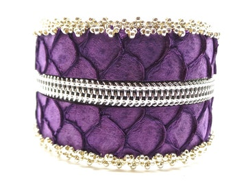 Mauve bracelet Tilapia and silver zipper bias