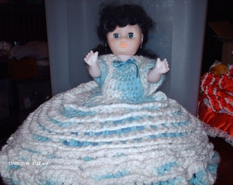 Hand Crocheted Bed Doll from the 1980's, with open close eyes