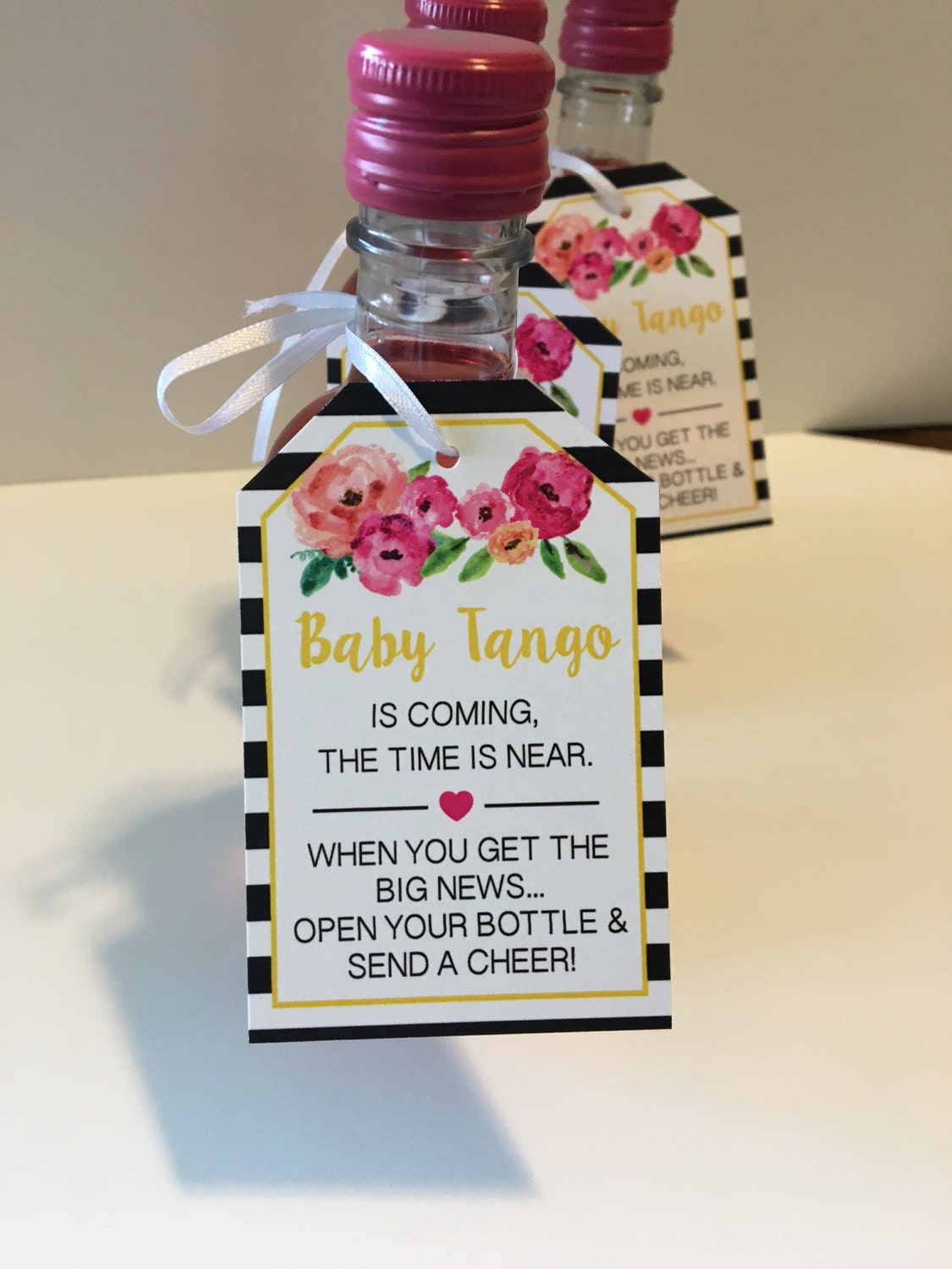baby shower favor tags for mini wine bottles wine bottle