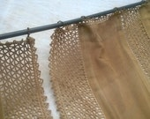 2 Victorian Beige Net Curtains Hand Crochet Lace Trimmed French Handmade Panels Gold Metallic Curtain Rod's Rings Movies #SophieLadyDeParis