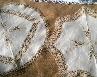 2 Large Malta Cross Doilies Linen and Lace Trim Vintage Off White and Beige Table Center #sophieladydeparis