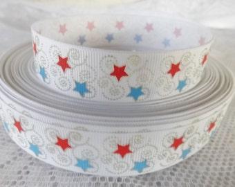 Star ribbon Silver star grosgrain ribbon 7/8 stars ribbon