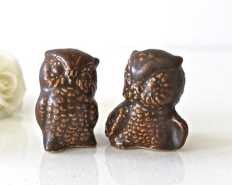 2 Cute Owls Wedding cake Topper in Brown - Owl Couple Figurine - Owl Home decor - Mr and Mrs Owl Cake Topper - Owl Decoration