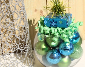 Christmas Centerpiece - Turquoise and Green Holiday Decoration