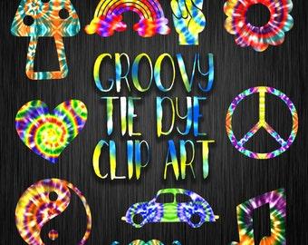 Groovy Tie Dye Clip Art - Commercial Use Clip Art - Hippie Clip  Art - Tie Dye Images - 30 PNG Images