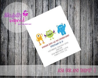 Little MonstersThemed Party Invite / Firefighter / Any Age / Any Gender  - Custom Printable Birthday Invitation