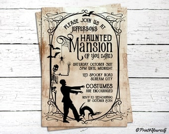 Haunted Mansion Invitation // Personalized Printable Rustic Haunted Mansion Halloween Party Invitation // Halloween Invitation // Halloween