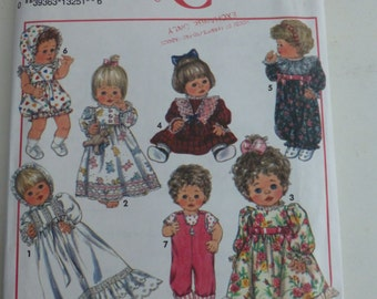 "Simplicity 8099 12"" - 22"" Baby Doll Clothes Pattern UNCUT"