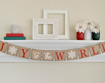 Joy To The World Banner, Christmas Banner, Rustic Christmas Banner, Joy To The World Sign, Christmas Decor, B016