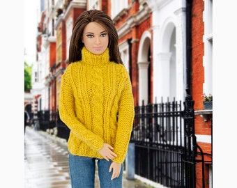 Hand-knitted pullover for Barbie and Poppy Parker. 14 colors to choose.