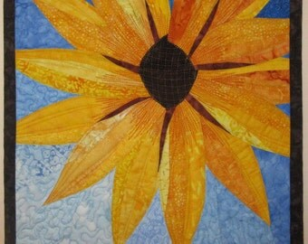 Art Quilt Yellow Flower 3, Wall Hanging
